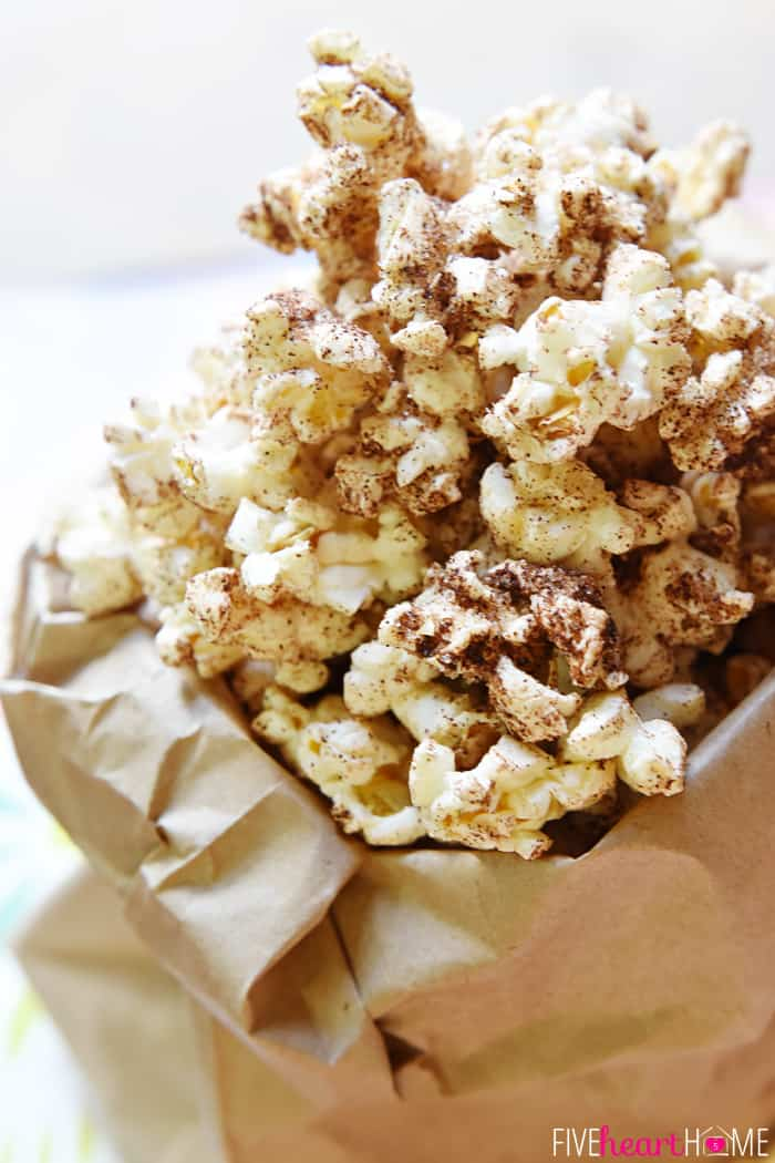 Close-Up of Brown Butter Cinnamon Sugar Popcorn in a Paper Bag