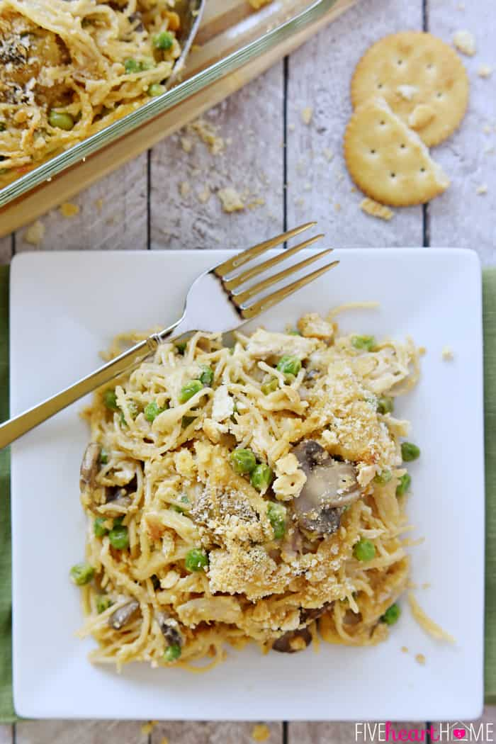 Cheesy Chicken Spaghetti ~ features shredded chicken, your favorite veggies, and a simple homemade cheese sauce (instead of Velveeta and canned soup) | FiveHeartHome.com