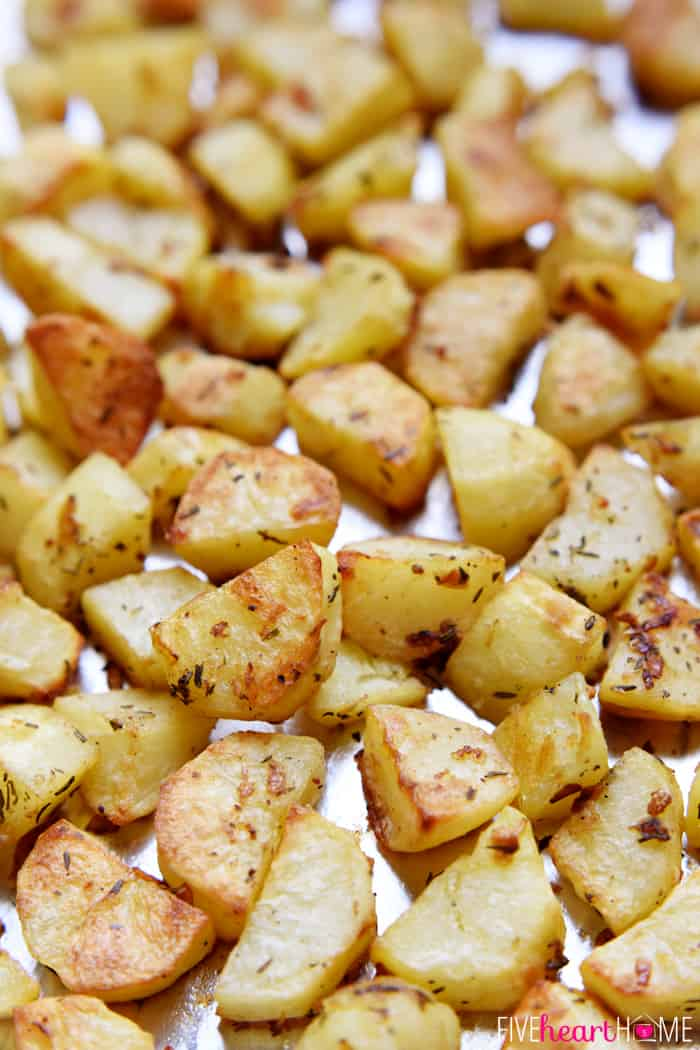 Simple, delicious Garlic & Herb Roasted Potatoes are crispy on the ...