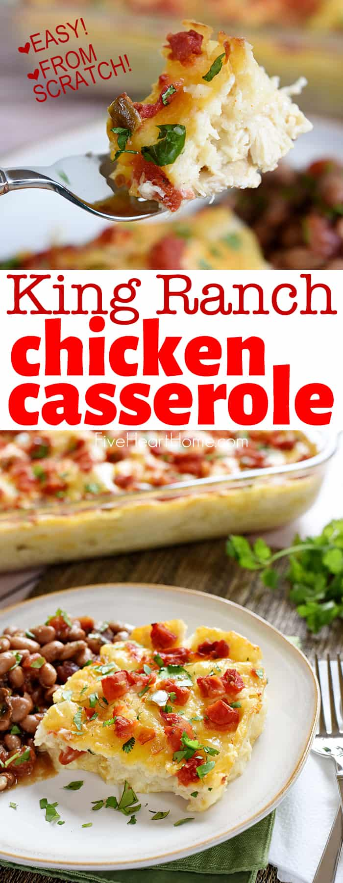 King Ranch Chicken Casserole ~ a cozy, comfort food classic with melty layers of chicken, tortillas, and cheese...and this from-scratch version features a simple homemade sauce with NO canned condensed soups! | FiveHeartHome.com #kingranchchicken #kingranchchickencasserole