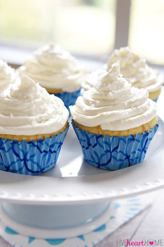 Fluffy, Homemade, One-Bowl Vanilla Cupcakes ~ the perfect medium for your favorite frosting, including this creamy, not-too-sweet, cooked buttercream | FiveHeartHome.com