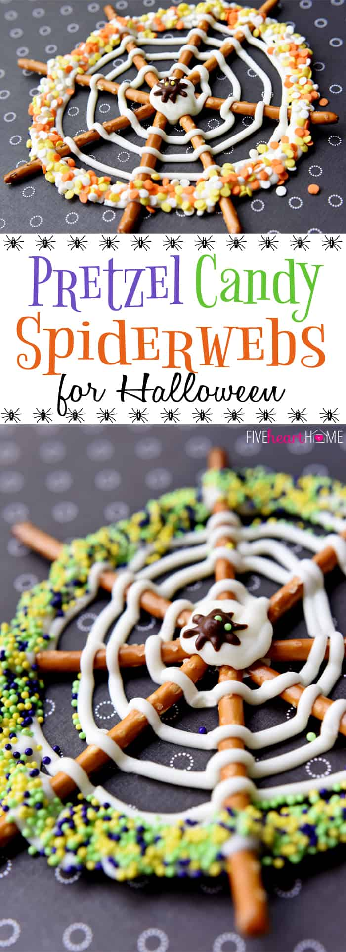 Candy Spiderwebs ~ the perfect Halloween Pretzel Treats...festive, sweet & salty, and fun to make with the kids or serve at a party! | FiveHeartHome.com