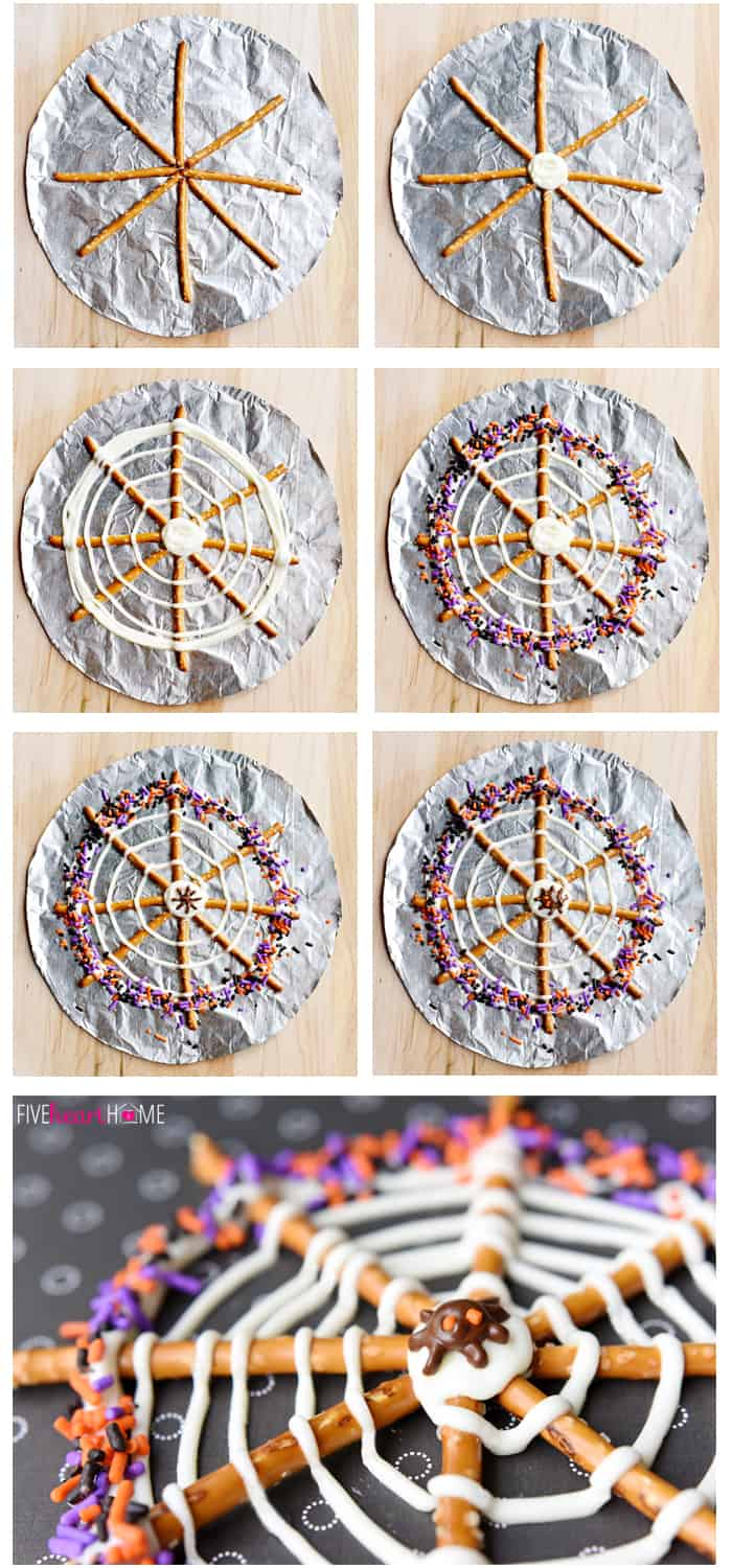 Step-by-step photo collage showing how to make Pretzel Candy Spiderwebs