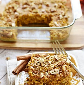 Pumpkin Baked Oatmeal with Maple Syrup & Pecans