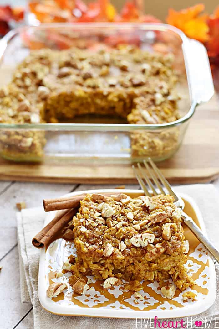 Pumpkin Baked Oatmeal with Maple and Pecans / Dairy-Free ~ warm ...