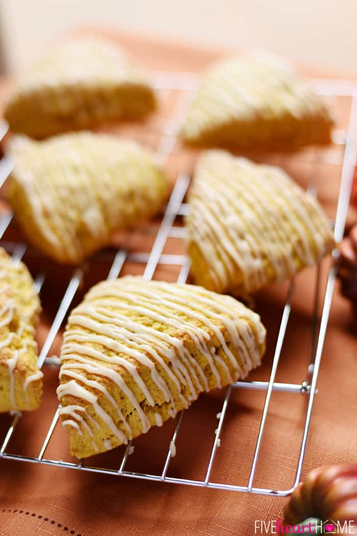 Pumpkin Scones with Brown Butter Glaze on a Wire Cooling Rack