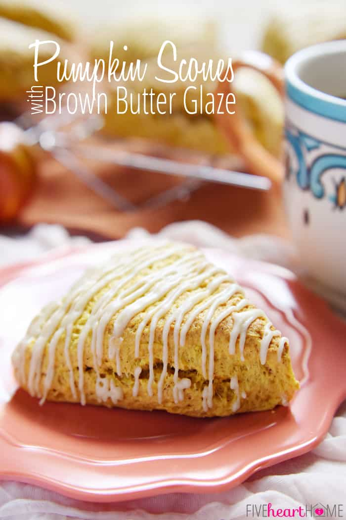 Pumpkin Scones with Brown Butter Glaze ~ tender and moist, these easy-to-make scones are the perfect fall treat (and they're great for gift giving, too!) | FiveHeartHome.com