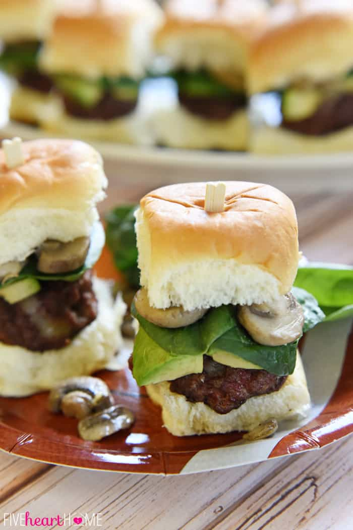 Two ULTIMATE Cheeseburger Sliders on Football Themed Plate