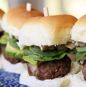 Cheeseburger Sliders on a plate.