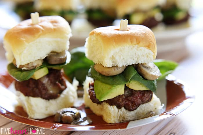 The ULTIMATE Cheeseburger Sliders a Paper Football Themed Plate