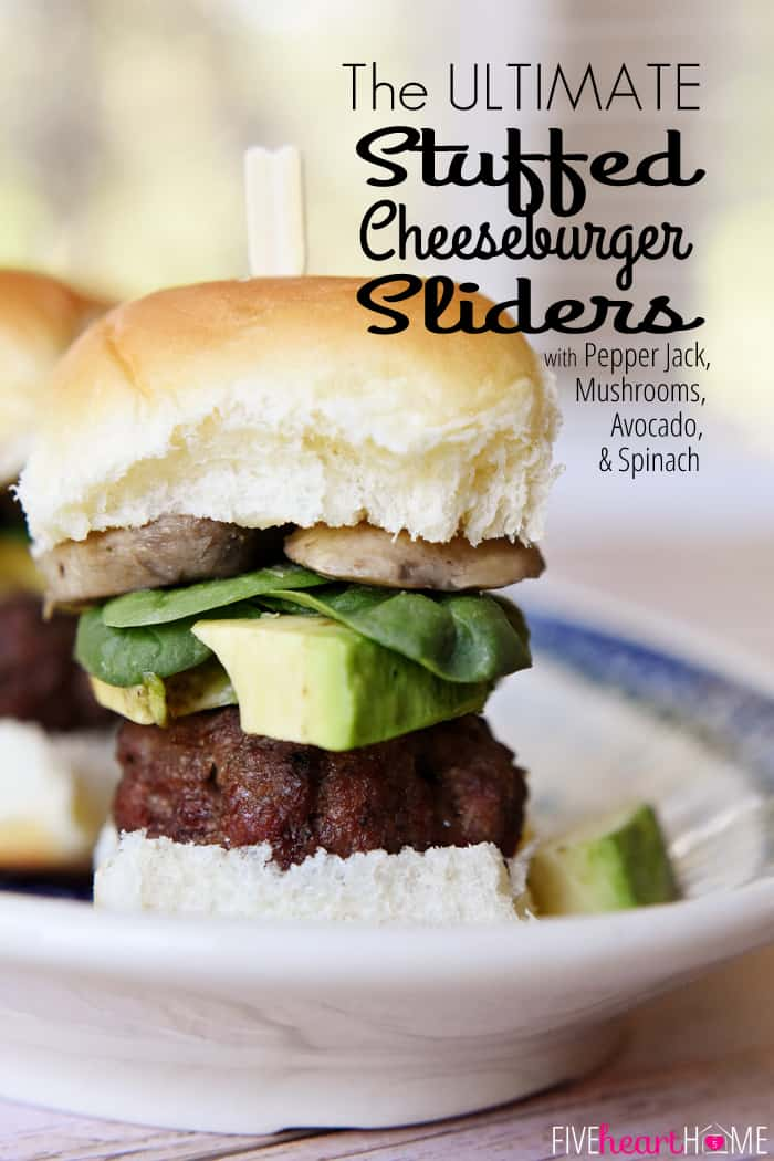 The ULTIMATE Cheeseburger Sliders ~ burger stuffed with pepper jack cheese and topped with mushrooms, avocado, and baby spinach on a Hawaiian roll | FiveHeartHome.com