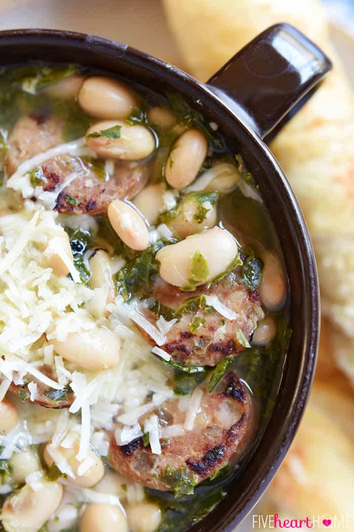 Aerial View Showcasing White Beans, Sausage, Kale and Parmesan Cheese