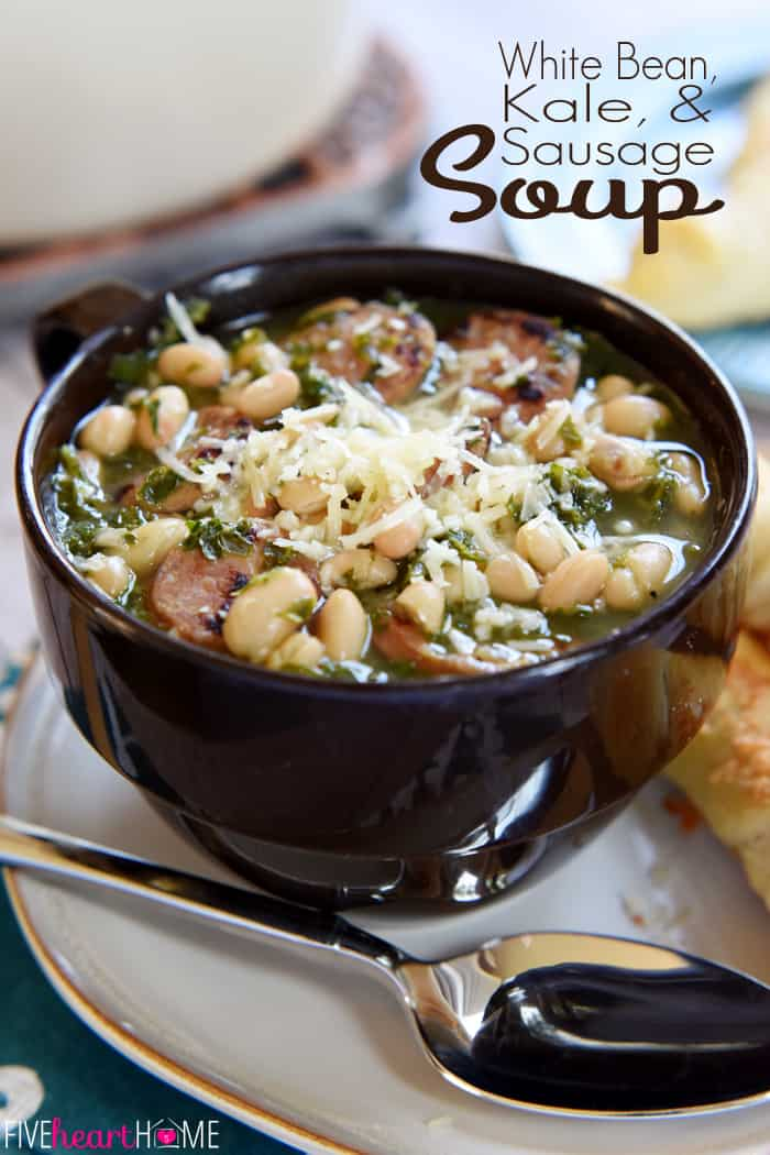 White Bean, Kale, & Sausage Soup with Text Overlay