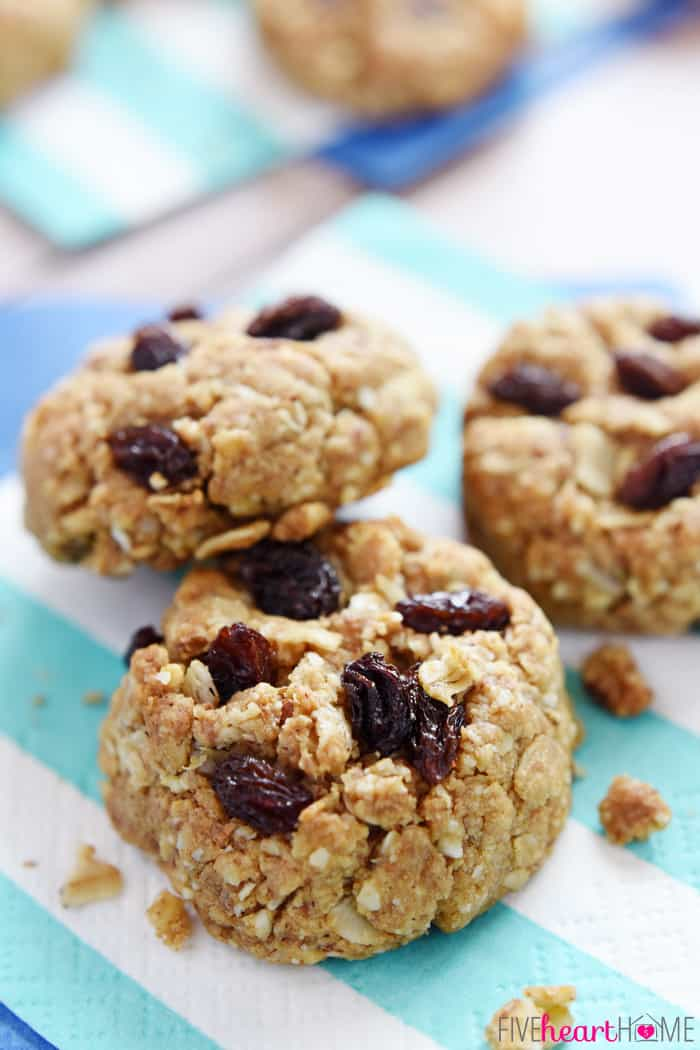 Wholesome Breakfast Cookies ~ packed with oats, nuts, whole wheat flour, coconut oil, and lightly sweetened with honey...perfect for breakfast-on-the-go or an anytime snack!   FiveHeartHome.com