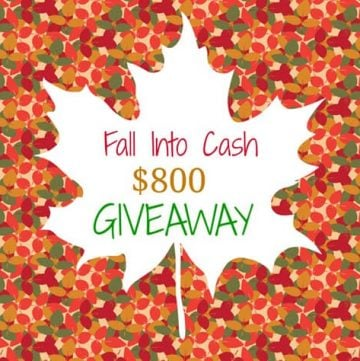 Fall Into Cash $800 Giveaway ~ ends on October 3, 2014 at 11:59 p.m. | FiveHeartHome.com
