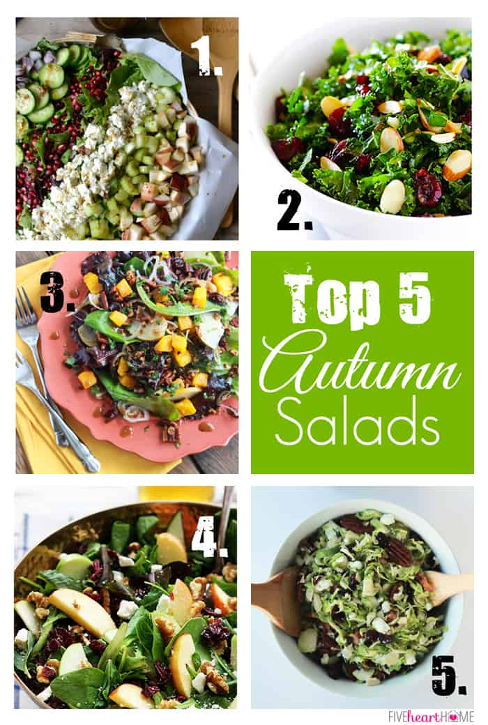 Best Autumn Salads ~ salad recipes to celebrate fall or lighten up your Thanksgiving menu | FiveHeartHome.com