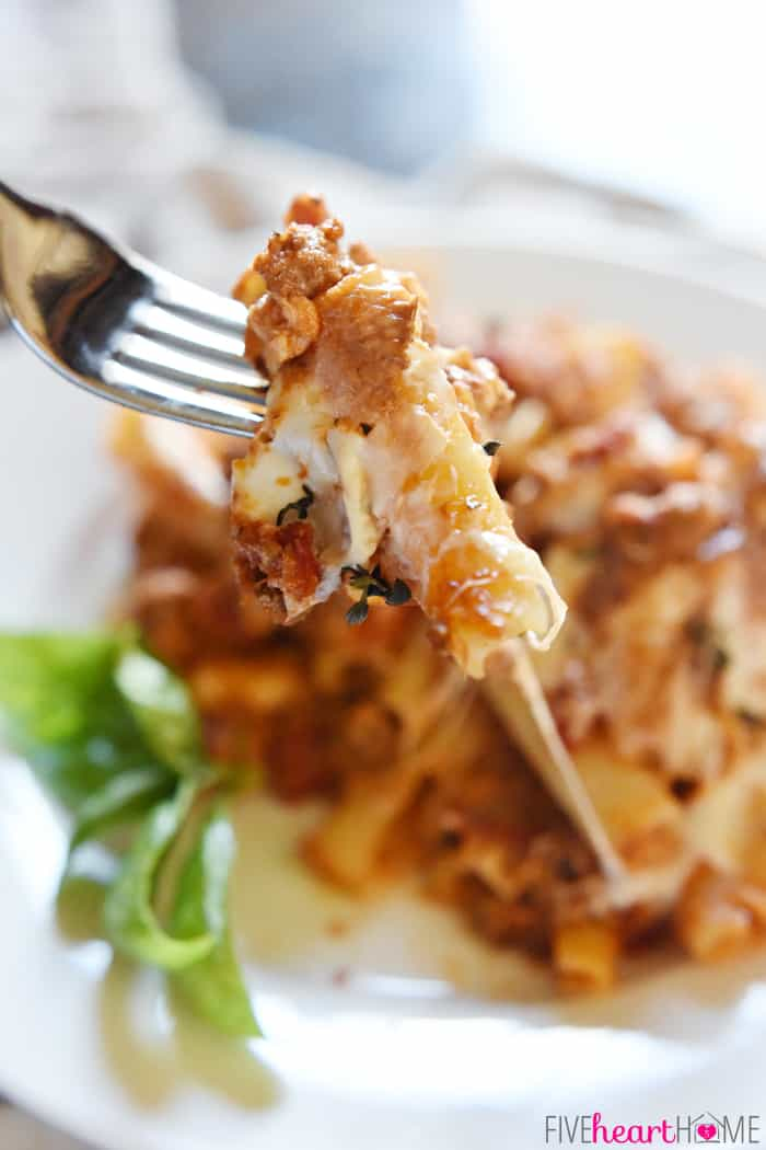 Stabbed Bite of Baked Ziti on a Silver Fork