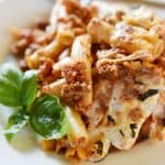 Baked Ziti ~ easy to make and oozing with cheese, this pasta dish is comfort food perfection! | FiveHeartHome.com