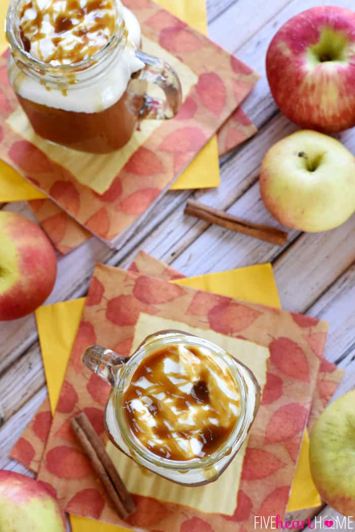 Caramel Apple Cider ~ this copycat of a Starbucks Caramel Apple Spice tastes like warm apple pie topped with vanilla ice cream...in a mug! | FiveHeartHome.com | #Starbucks #copycat #recipe #applecider