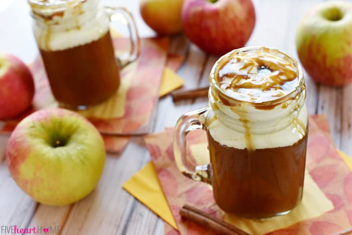 Caramel Apple Cider ~ Starbucks Caramel in Two Mason Jars