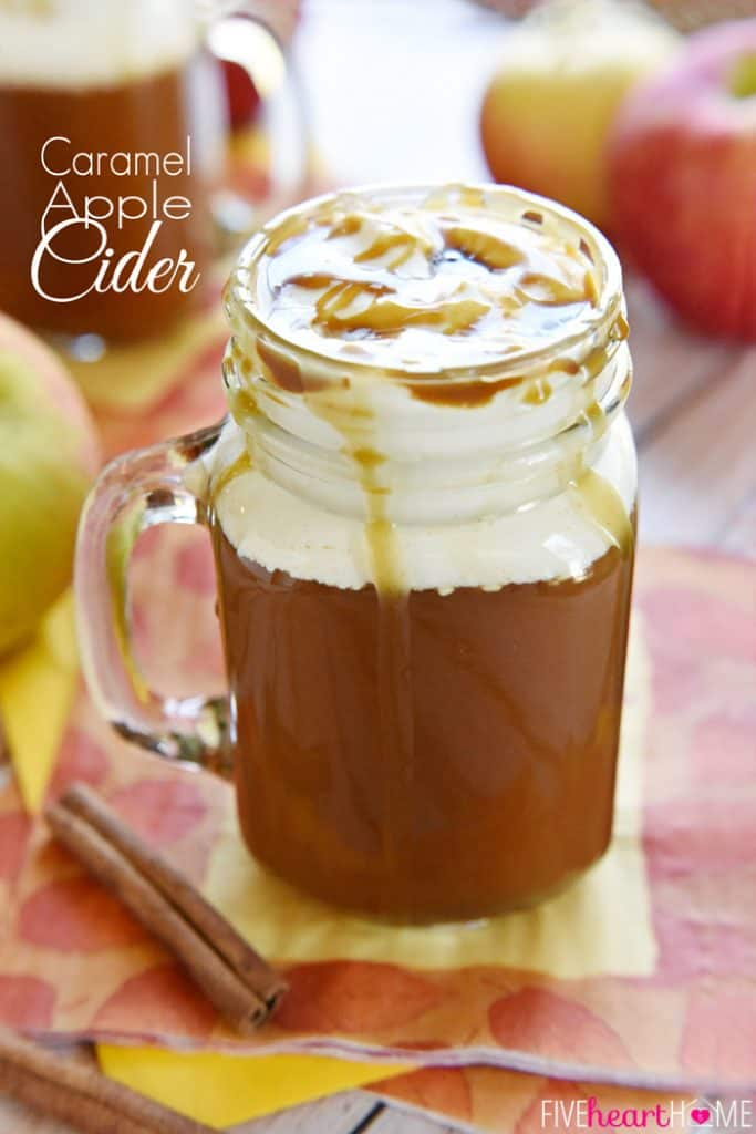 Caramel Apple Cider ~ this copycat of a Starbucks Caramel Apple Spice tastes like warm apple pie topped with vanilla ice cream...in a mug!   FiveHeartHome.com   #Starbucks #copycat #recipe #applecider
