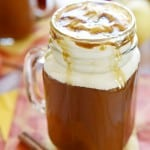 Caramel Apple Cider ~ this copycat of a Starbucks Caramel Apple Spice tastes like warm apple pie topped with vanilla ice cream...in a mug! | FiveHeartHome.com | #Starbucks #copycat #recipe #applecider