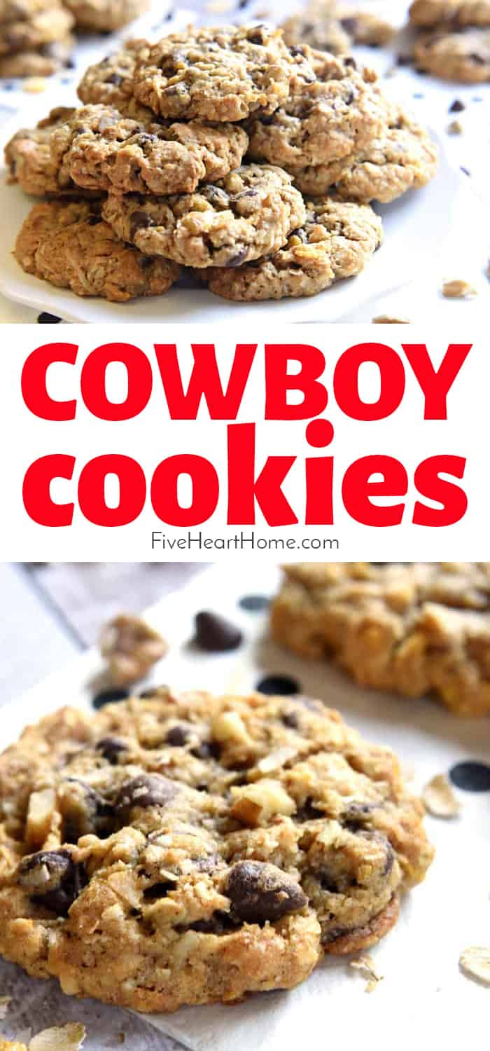 Cowboy Cookies ~ soft, chewy, and loaded with yummy ingredients, from oats and coconut to chocolate chips and pecans! | FiveHeartHome.com via @fivehearthome