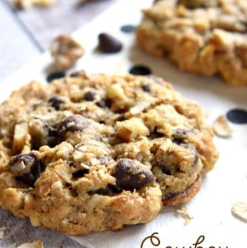 Cowboy Cookies ~ soft, chewy, and loaded with different flavors and textures from oats and coconut to chocolate chips and pecans | FiveHeartHome.com