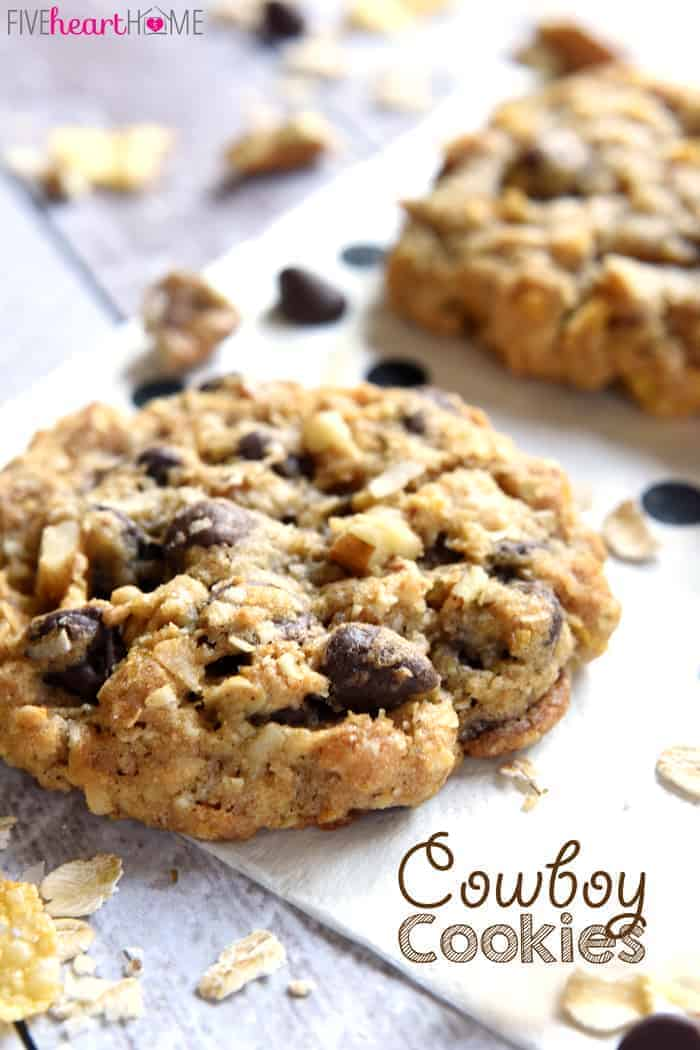 Cowboy Cookies ~ soft, chewy, and loaded with different flavors and textures from oats and coconut to chocolate chips and pecans! | FiveHeartHome.com