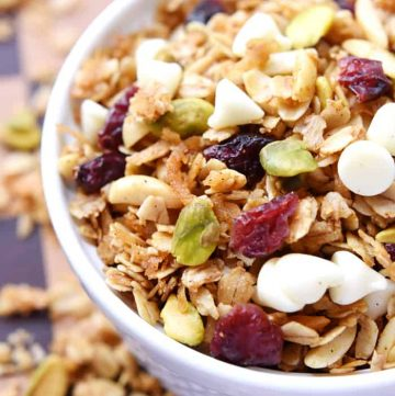 Gingerbread Granola {with Dried Cranberries, Pistachios, & White Chocolate Chips}