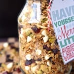 Gingerbread Granola with Cranberries, Pistachios, and White Chocolate Chips ~ warm spices and Christmas colors make this a perfect holiday breakfast or homemade food gift!   FiveHeartHome.com