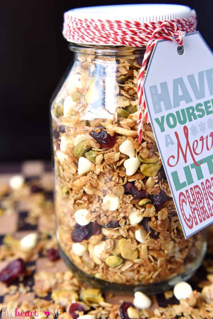 Gingerbread Granola with Cranberries, Pistachios, and White Chocolate Chips | FiveHeartHome.com