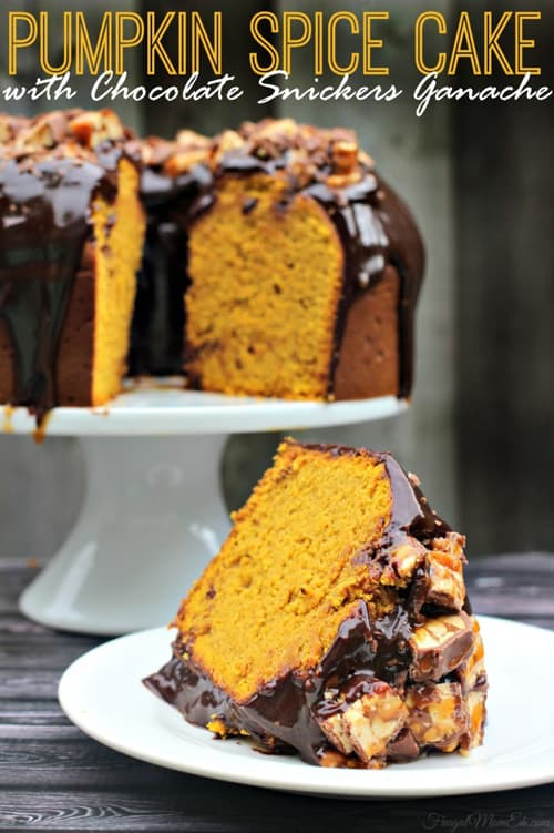 Yum! Delicious pumpkin recipes for fall via maisondepax.com:  Pumpkin Spice Cake with Chocolate Snickers Ganache