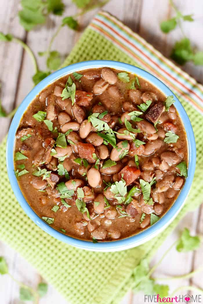 "Slow Cooker Charro Beans ~ these ""cowboy beans"" are loaded with bac..."