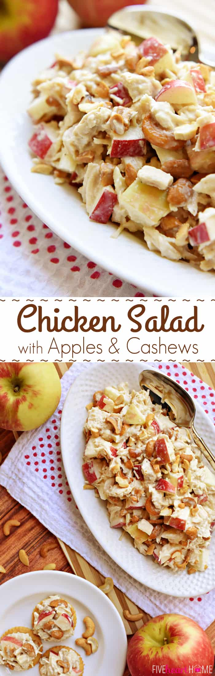 Chicken Salad with Apples and Cashews Collage with Text Overlay