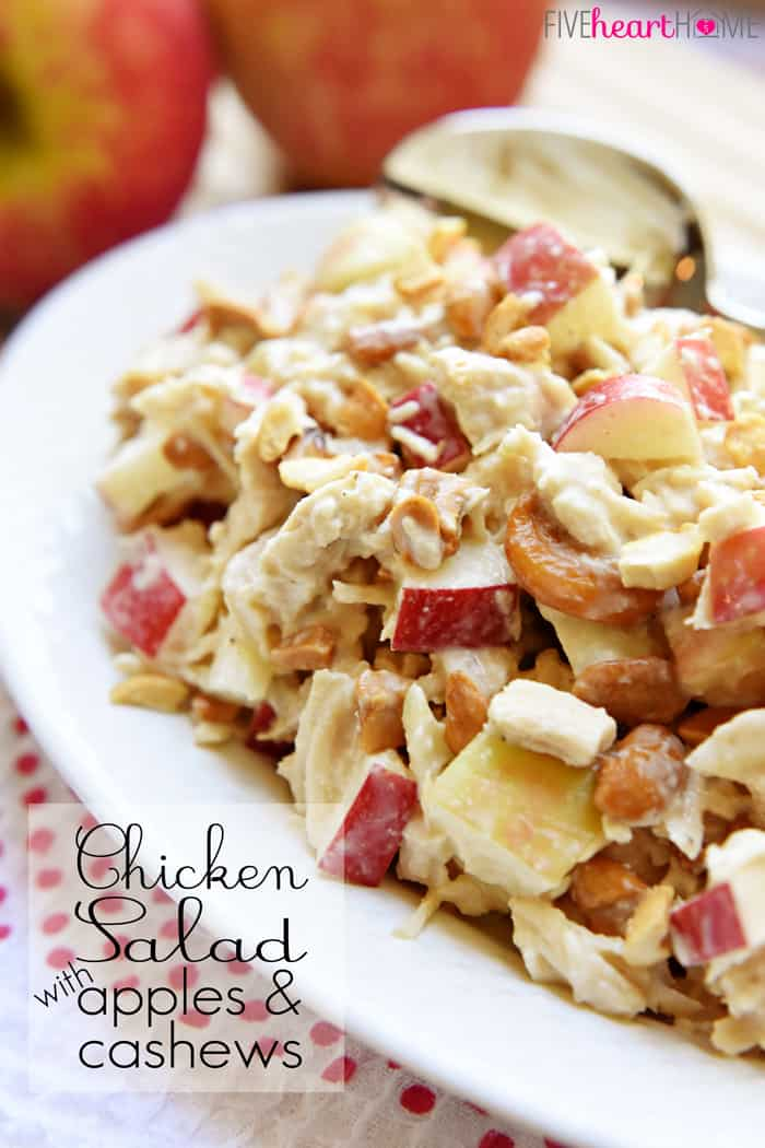 Chicken Salad with Apples and Cashews with Text Overlay