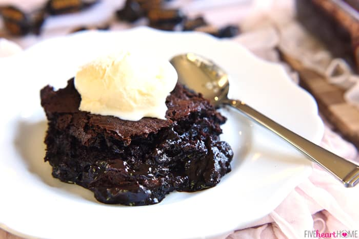 Warm Chocolate Cobbler with a Scoop of Ice Cream on a White Scalloped Plate