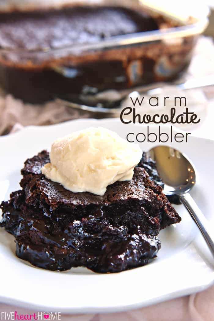 Warm Chocolate Cobbler ~ features moist chocolate cake floating on top of a caramel-streaked, coffee-laced, molten chocolate sauce! | fivehearthome.com via @fivehearthome