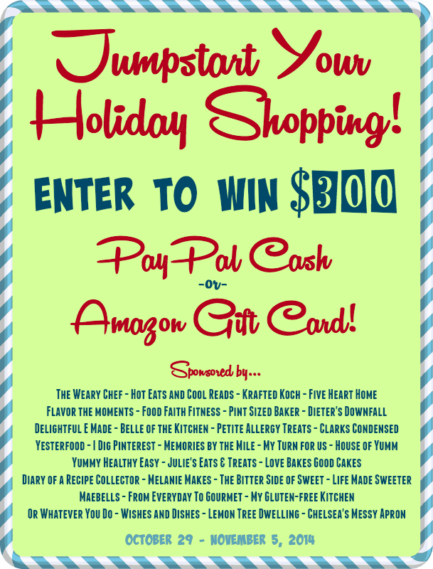 Jump Start Your Holiday Shopping GIVEAWAY ~ Enter to win $300 in PayPal Cash OR Amazon Gift Card!