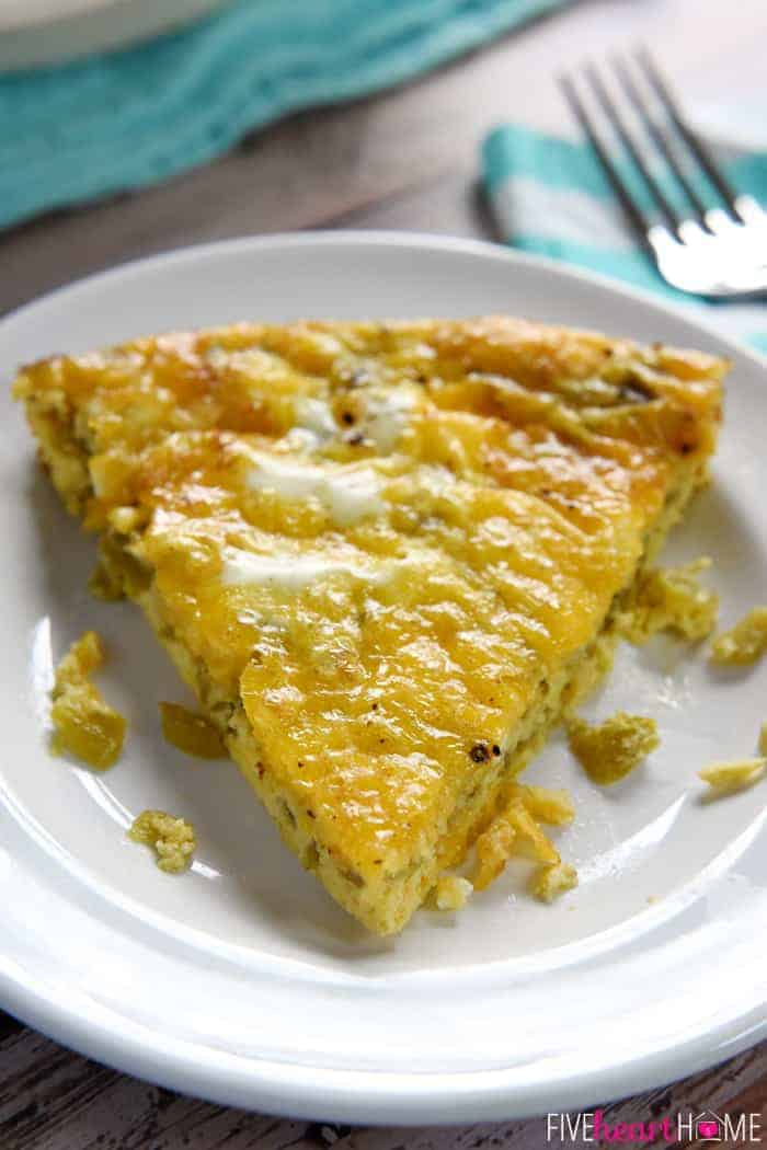 Crustless Green Chile Cheddar Egg Bake Wedge Served on White Plate
