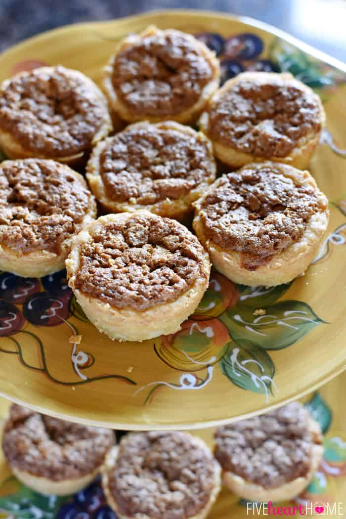 Mini Pecan Pies on Painted Decorative Plate