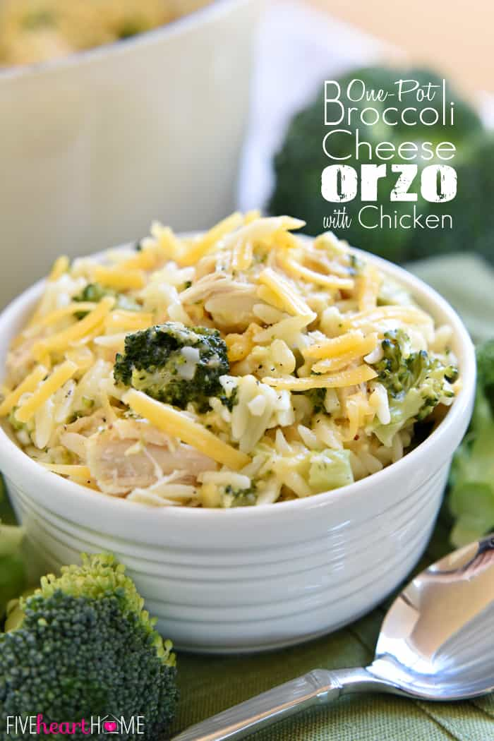 Broccoli Cheese Orzo with Chicken with Text Collage