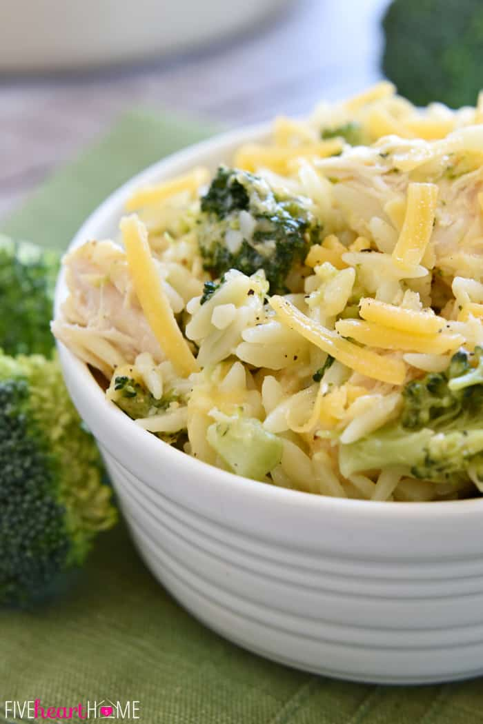 Broccoli Cheese Orzo with Chicken ~ a quick, simple, one-pot dinner using leftover chicken or turkey | FiveHeartHome.com
