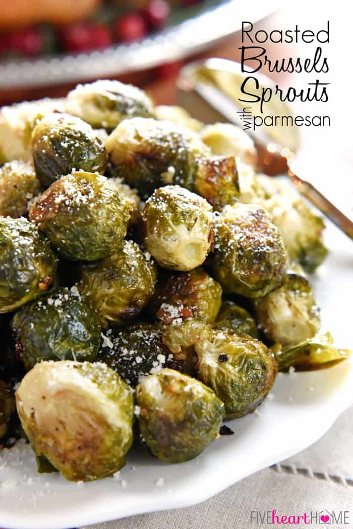 Simple seasonings boost flavor and roasting brings out the natural sweetness of these easy-to-prepare Roasted Brussels Sprouts with Parmesan! via @fivehearthome