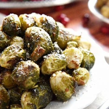 Roasted Brussels Sprouts with Parmesan ~ roasting with simple seasonings boosts the flavor and brings out the sweetness of Brussels sprouts in this healthy side dish | FiveHeartHome.com