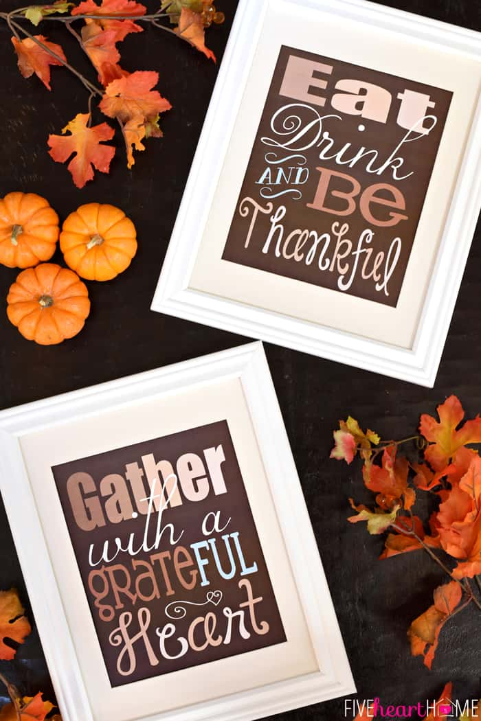 "Thanksgiving Quote Free Printable ~ ""Gather with a Grateful Heart"" 