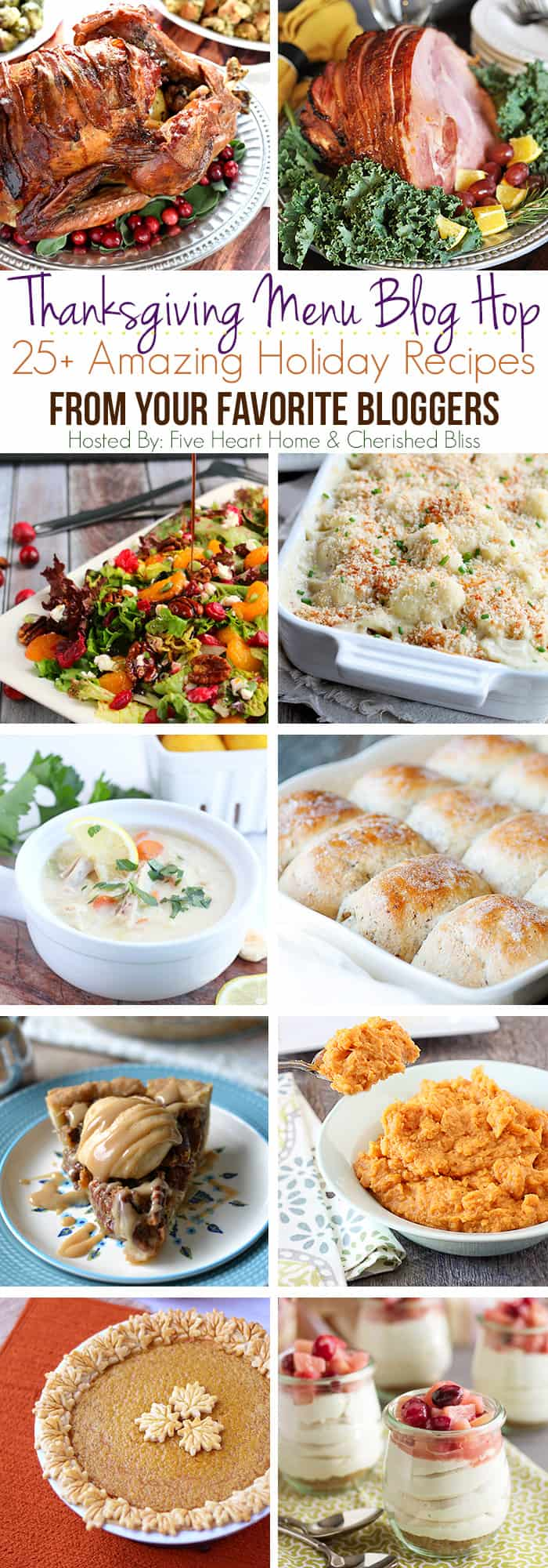 Thanksgiving Recipes Blog Hop ~ 25+ Holiday Main Dishes, Side Dishes, and Desserts from Your Favorite Bloggers! | FiveHeartHome.com