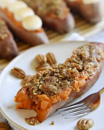 Twice-Baked Sweet Potatoes ~ the perfect Thanksgiving side dish, featuring a smooth, creamy filling and topped with toasty marshmallows or crunchy pecan streusel | FiveHeartHome.com