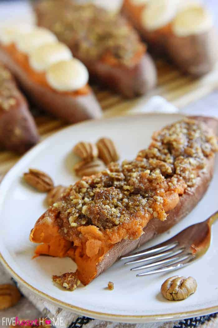 Twice-Baked Sweet Potatoes With Crunchy Pecan Streusel