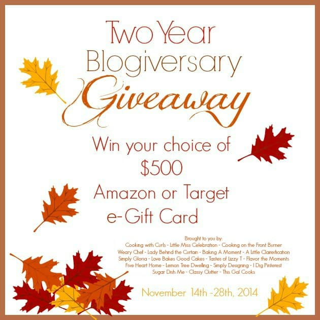 "$500 Amazon or Target Gift Card Giveaway to celebrate the 2 year ""blogiversaries"" of Little Miss Celebration and Cooking with Curls!"
